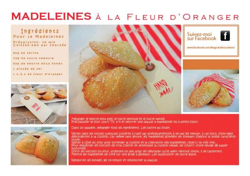 Recette à imprimer: madeleines à la fleur d'oranger